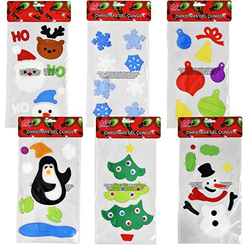Christmas Window Clings - 6 Christmas Window Gel Clings; Merry Christmas, Happy Holidays, Santa, Snowman, Gift Box & More.. by Gift Boutique