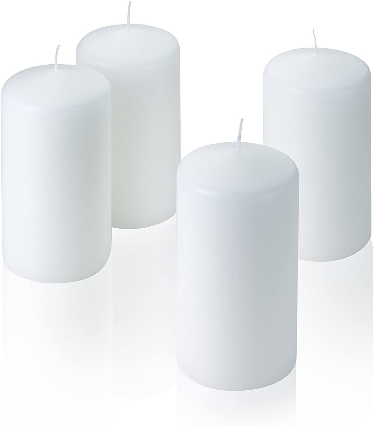 Hurricanes and Wedding Centerpieces 6 inch Tall 3 inch Thick Unscented Used for Lanterns 36 Hour Burn Time Light In The Dark Set of 4 Vanilla Pillar Candles