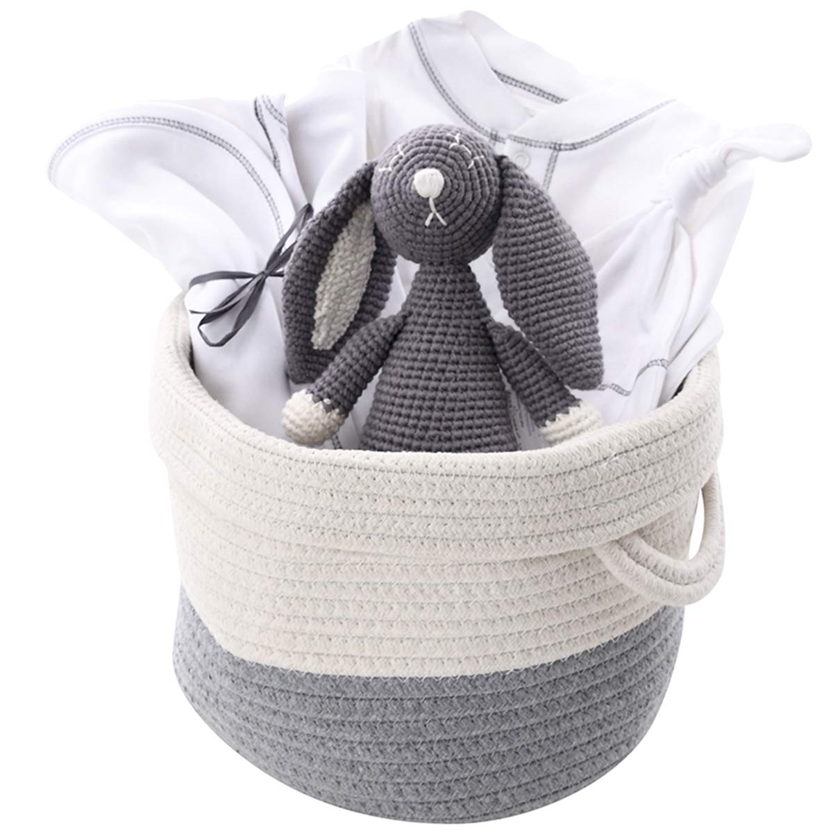 Unisex Organic Baby Gift Basket - Gray Bunny Layette in Cotton Tote