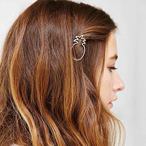 LittleB Minimalist Dainty Hair Clips Geometric Alloy Barrette Pineapple Hair side clips. - Minimalist Pineapple