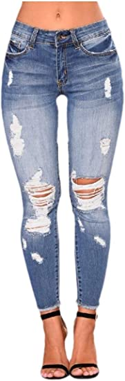 VITryst Womens Flexible Skinny Fashion Holes Low-waist Denim Trousers