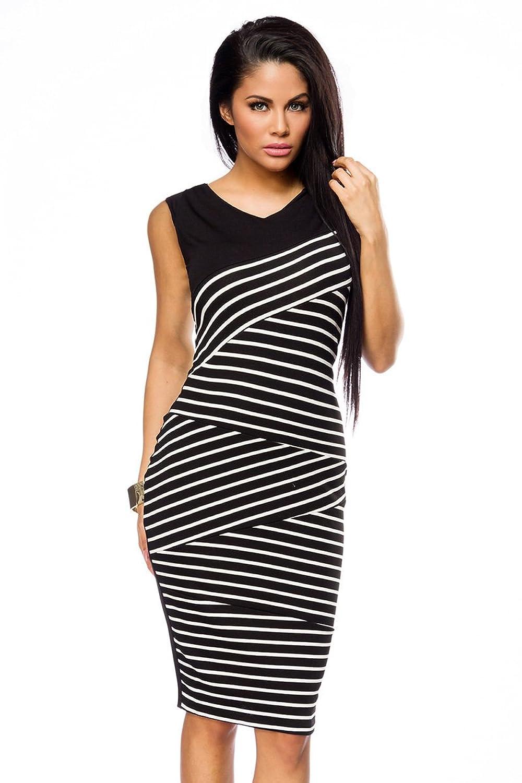 Elegantes Abendkleid Bleistiftkleid in schwarz weiß mit ...