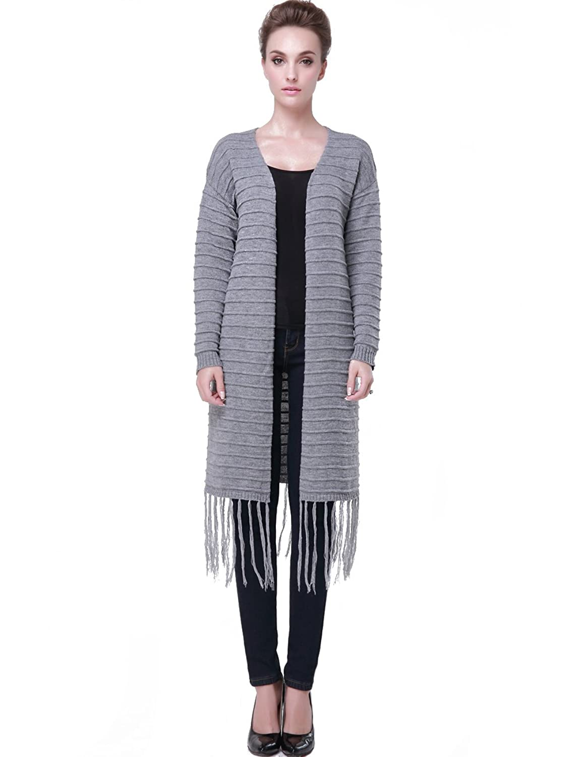 Camii Mia Women's Tassels Rib V-Neck Long Cardigan