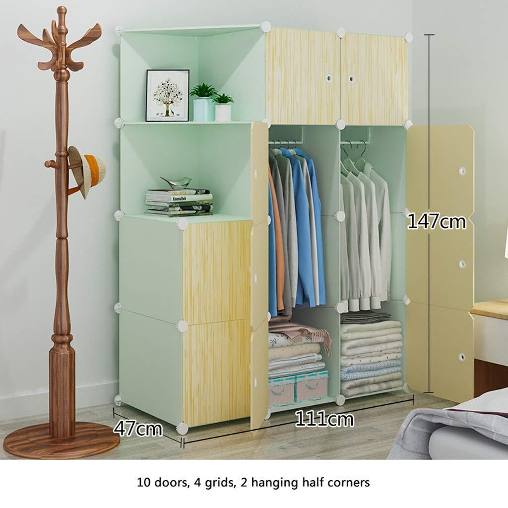Clothes Closet Wardrobe Portable Wardrobe Closet Modular Storage Organizer Space Saving Armoire Deeper Cube with Hanging Rod 10 Doors (Size : C)