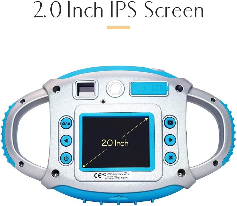 Zwbfu Kids Digital Camera 8MP Photo 1080P Video 2.0 Inch IPS Screen Built-in Lithium Battery with Lanyard USB Charging Cable Birthday Festival Gift for Children Boys Girls