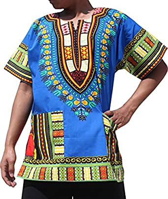 Full Funk Bright Unisex Dashiki Festival Shirt - African Top, XXX-Large, Iris Blue