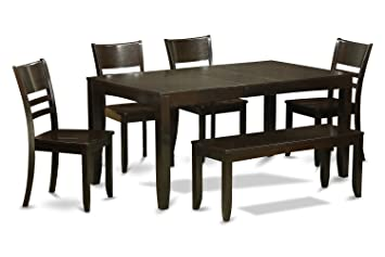 Strange Lyfd6 Cap W 6 Pc Dining Table With Bench Table With Leaf And 4 Kitchen Dining Chairs Plus Bench Uwap Interior Chair Design Uwaporg