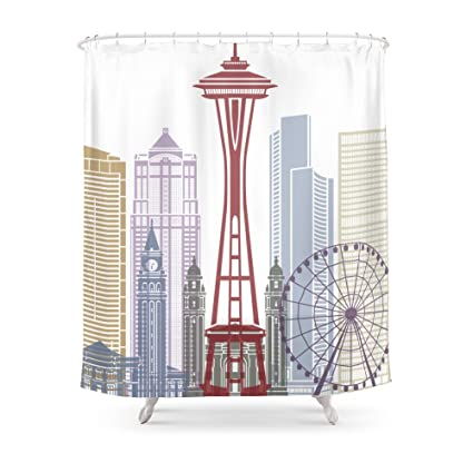 Society6 Seattle Skyline Poster Shower Curtain 71quot
