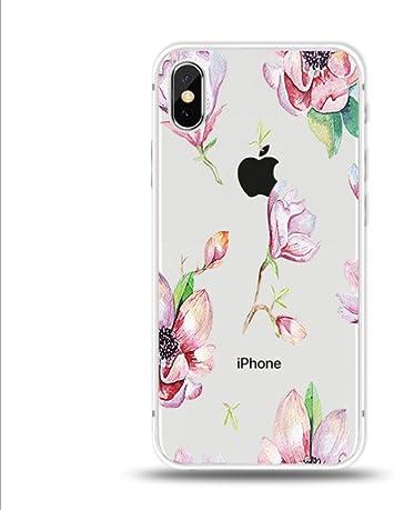 Freessom Iphone Cas Iphone Couverture Freessom Fleurs Exotiques Floraux Feuille Transparente Fleurs Originales Rétro Dessin Fleurs Couleur Avec Apple
