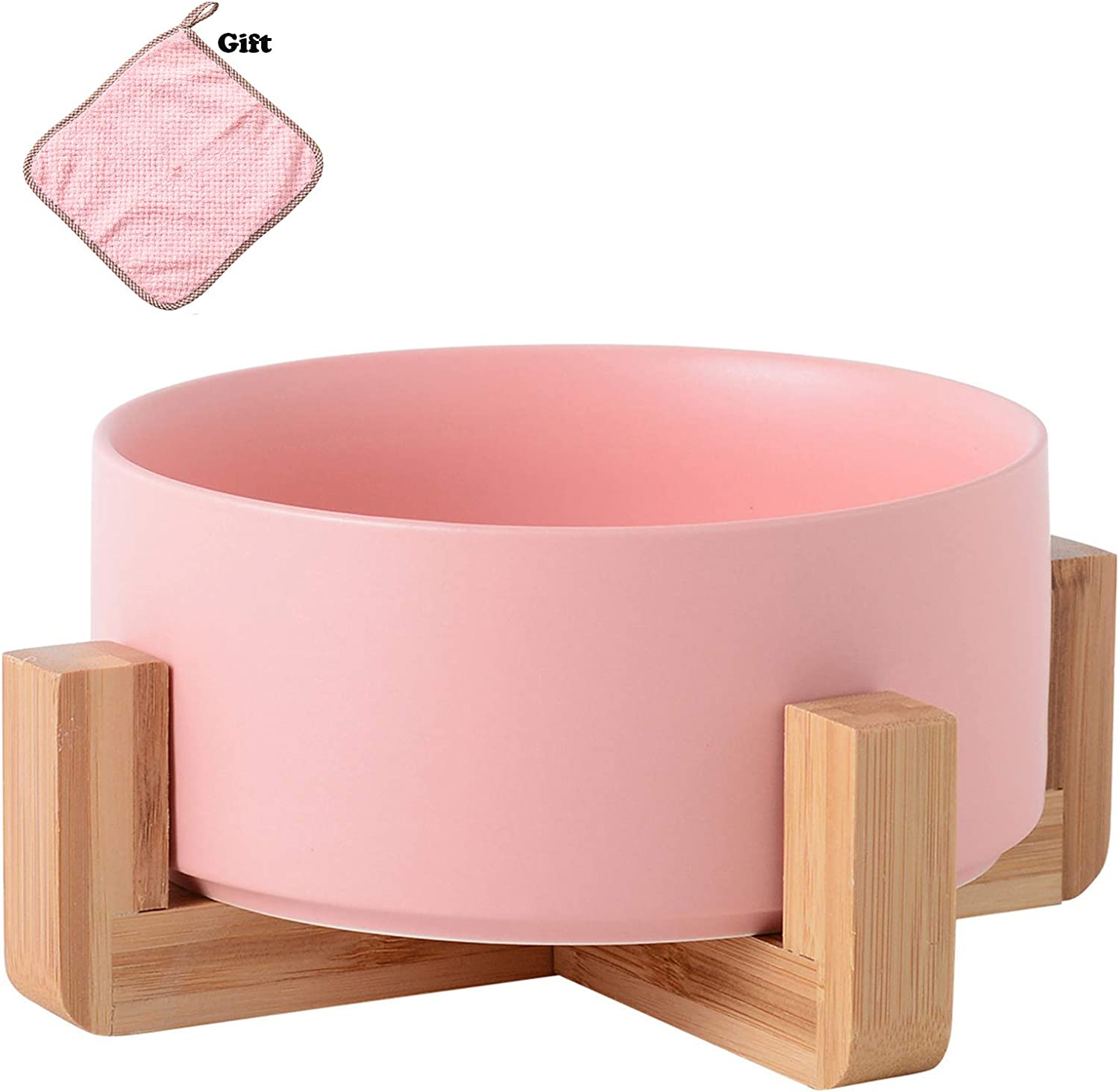 choemore Pet Ceramic Bowl, Wooden Support Base, Very Suitable for Wet Food, Dry Food and Water, to Protect The Spine of Pets, Dishwasher Safe and Clean