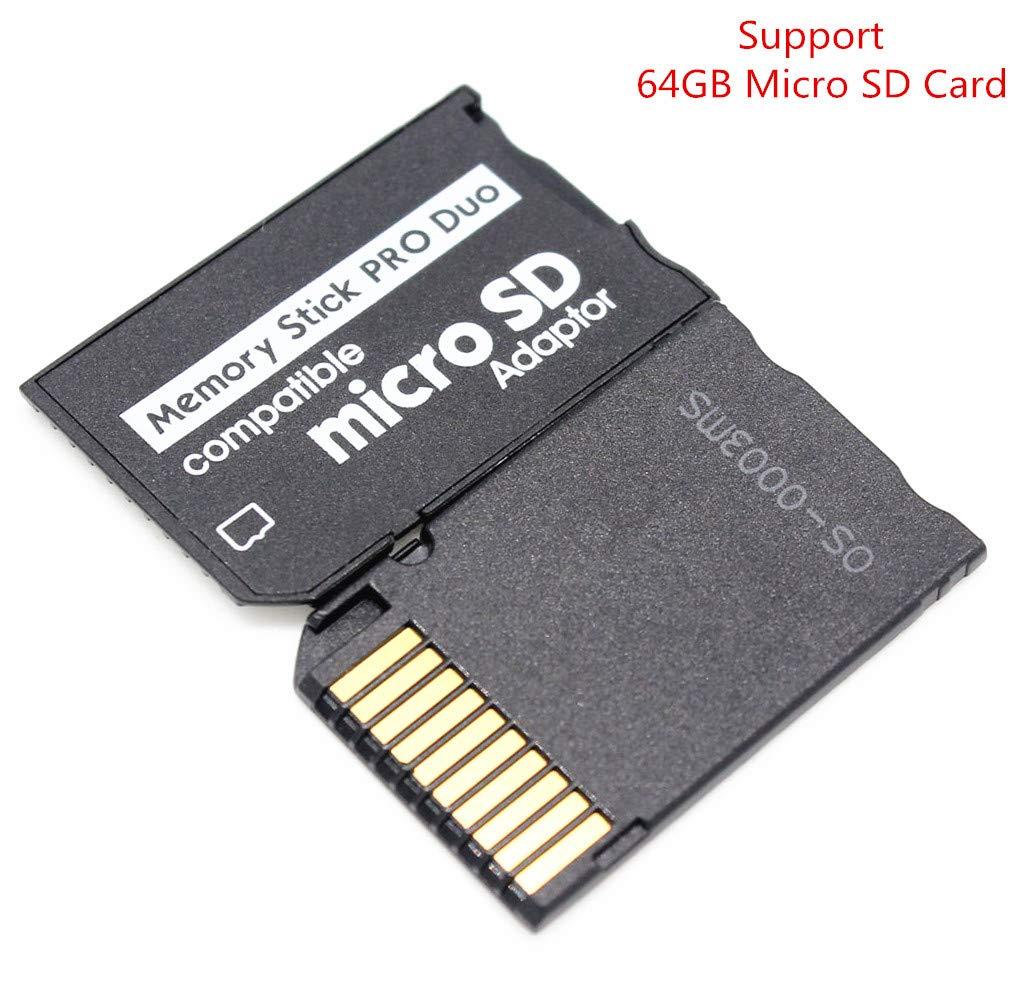 Adaptador de Tarjeta de Memoria, Adaptador MicroSD MicroSDHC a MS Pro Duo para cámara Sony PSP y Otros, soporta hasta 64 GB de Tarjeta Micro SD ...