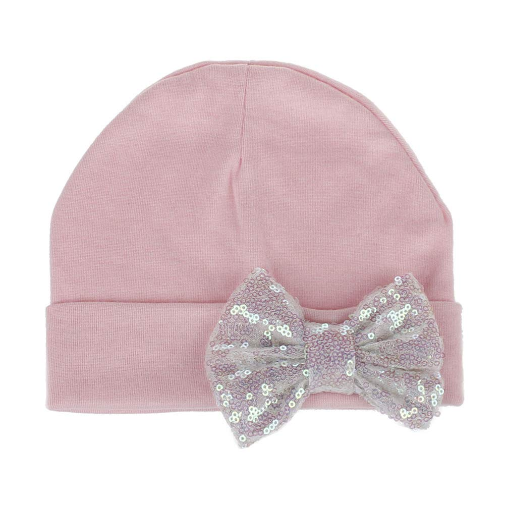 CHoppyWAVE Baby Girl Hat Toddlers Soft Turban Knot Bow,Autumn Winter Newborn Sequin Bowknot Beanie Cap