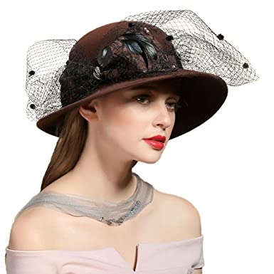 b27ebb64fe2 FADVES Vintage Feather Fascinator Wool Cloche Hat Wide Brim Fedoras Hat Bow  Veil Brown at Amazon Women s Clothing store