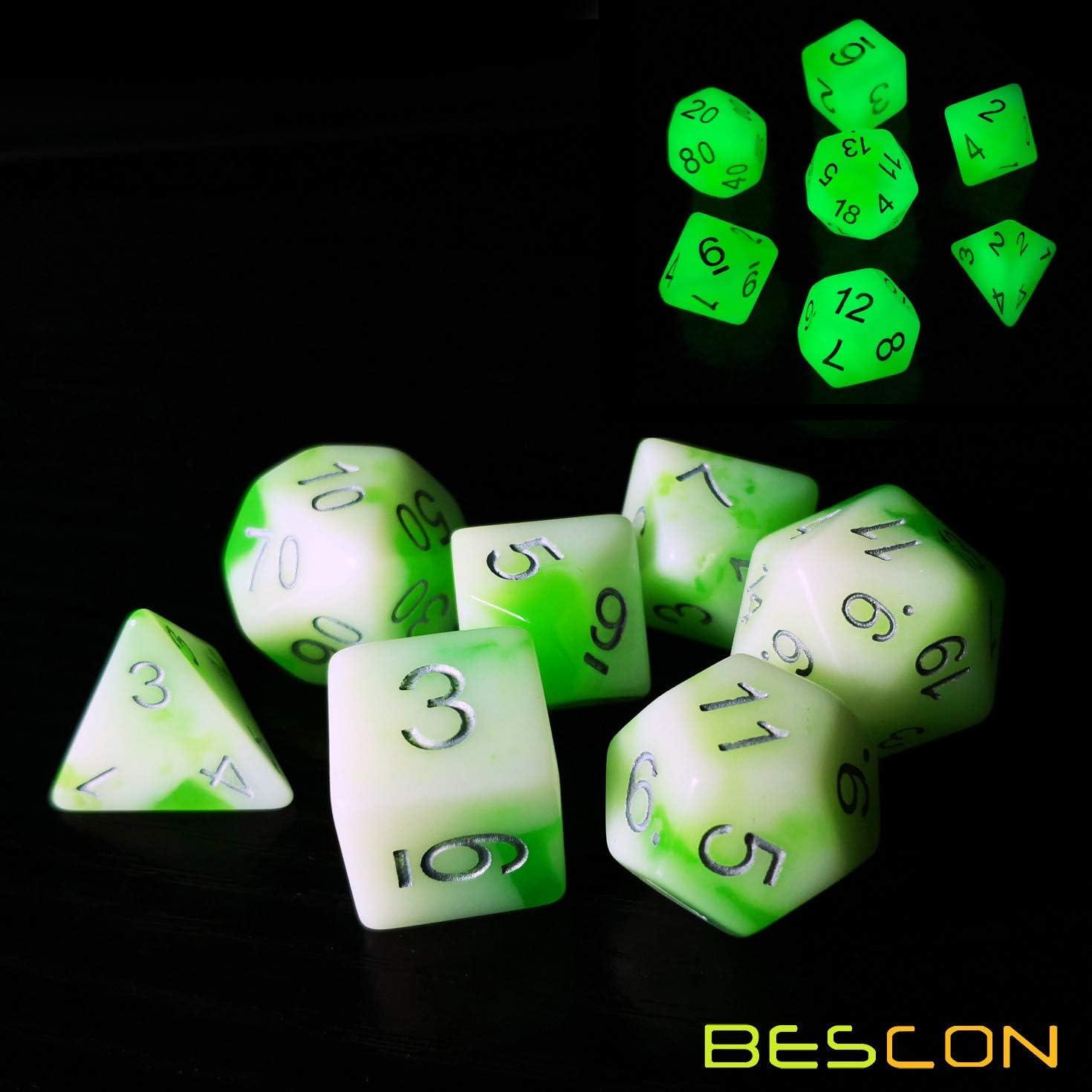 Bescon Glowing Polyedral Rpg Würfel Set Luminous Jade Bescon Glow In Dark Poly Dice Set Of 7 Dnd Rollenspiel Spiel Würfel Amazon De Spielzeug
