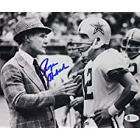 $135 » Roger Staubach Autographed Cowboys 8x10 with Tom Landry Photo - Beckett W Auth Blue