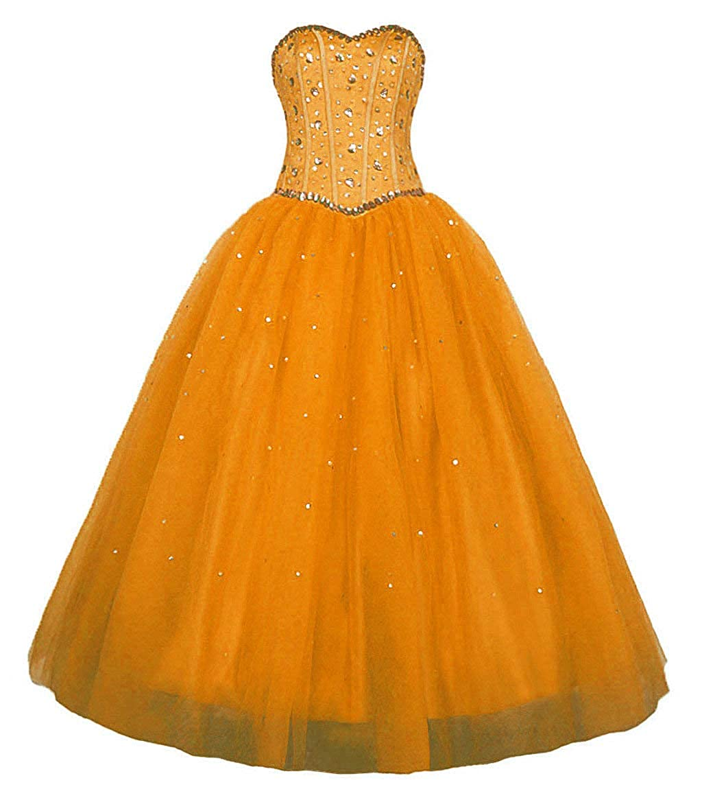 orange Vantexi Women's Sweetheart Rhinestone Tulle Long Evening Prom Dresses