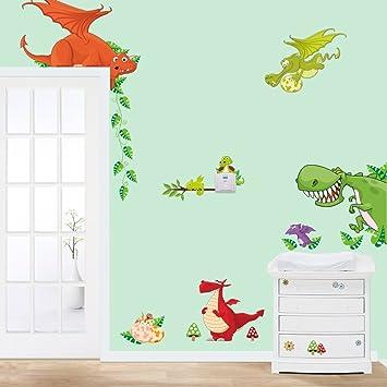 Wonderful Stickerkoenig Wandtattoo Kinderzimmer Dinosaurier Drachen Dinos Bunte  Wandsticker Wandaufkleber Deko #002