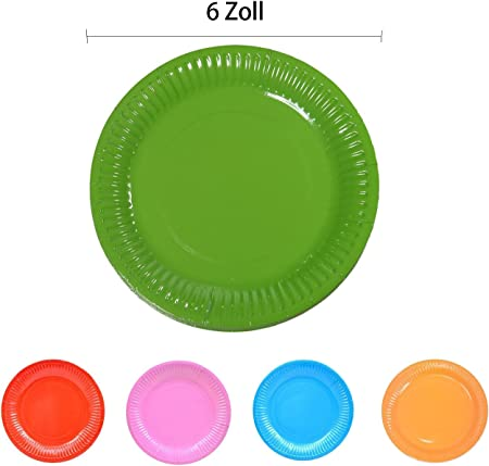 TANGGER Juego de 100 piezas Multicolores de platos de papel desechables Ideales para Alimentos Fríos y Pastel de postre,perfecto para cumpleaños, bodas, bautizos y fiestas