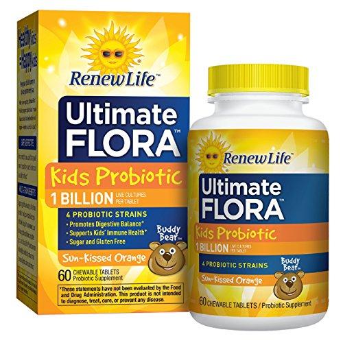Renew Life Kids Probiotic - Ultimate Flora Kids Probiotic, Shelf Stable Probiotic Supplement - 1 Billion -  60 Chewable Tablets