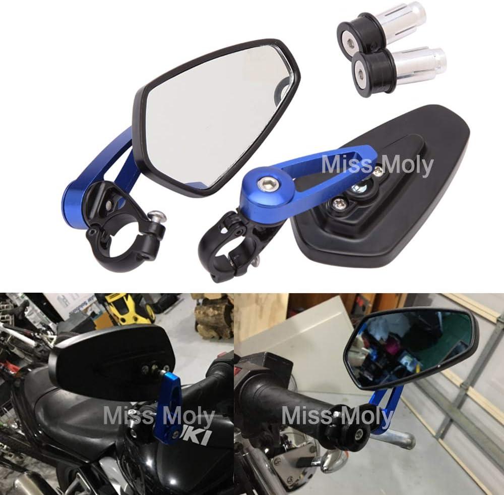 Motorrad Lenkerende Seitenspiegel 7 8 22mm Aluminiumlegierung Lenker Rückspiegel Für Scooter Cruiser Sport Bike Blau Auto