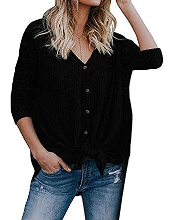 423df9aa29cea FELACIA Womens Henley Shirts V Neck Button Down Solid Long Sleeve Loose  Casual Knit Sweaters Tops