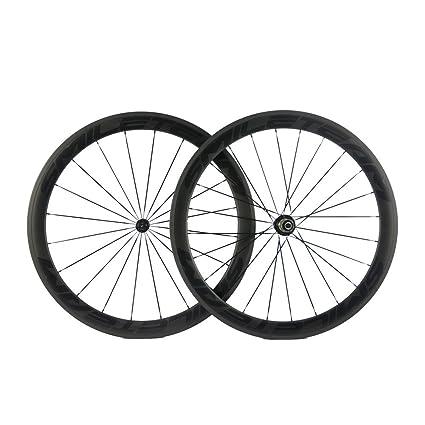 SmileTeam - Ruedas para Bicicleta de Carretera (Fibra de Carbono, 700C, 50 mm