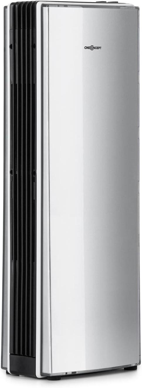 Oneconcept St. Oberholz Office A Ionizador Ventilador de Aire (Compacto, Poco Ruido, bajo Consumo, Elimina olores) - Plateado