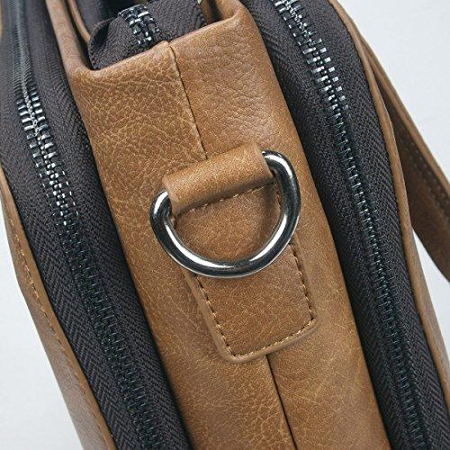 Herren Business-Taschen Büro-Schulter-Aktentaschen PU-Leder Mens Work Travel Messenger Bag Khaki