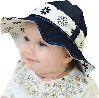 "Baby Toddler Girl Summer 100/%Cotton Beach Hat Cap Chin Straps /""Bird/"" Size 1-4m"