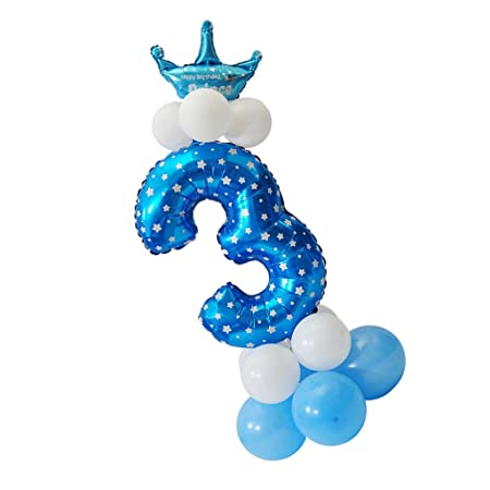 MagiDeal Todos Números Globo Corona Columna Colección Feliz Cumpleaños Decoración de Casa - Azul, 3