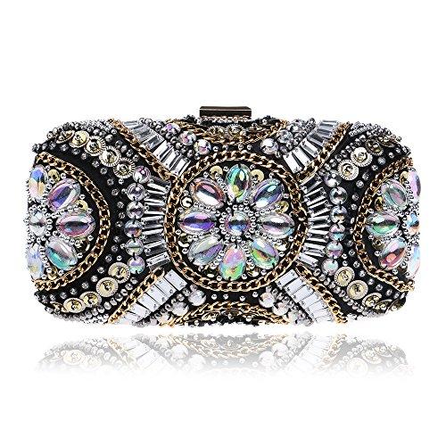 Bolso de Noche con Cuentas de Diamantes Cristal Bolsas de Embrague con Cuentas de Mujeres Bolso de Moda con Flores Bolsa de Diamantes de Imitación para la Boda y la Fiesta Farbe