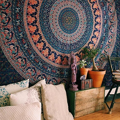 Psychedelic Indian Hippie Bohemian Cotton Floral Elephant Mandala Wall Hanging Tapestry Handmade Gypsy Meditation Tapestry Queen Size