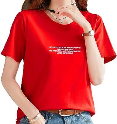 dj&YJ Camiseta De Algodón De Verano para Mujer, Estudiante De Manga Corta, Ropa De Manga Corta Roja Suelta, S: Amazon.es: Ropa y accesorios