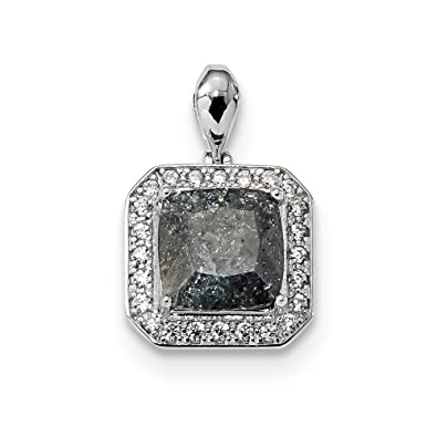 Sterling Silver Rhodium-plated Gray Ice CZ Pendant