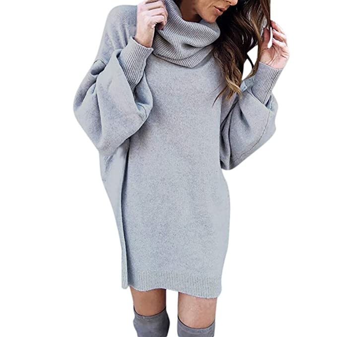 4929dd6f07a65 AKwell Womens Winter Warm Loose Turtleneck Oversized Pullover Sweater Dress  Solid Long Latern Sleeve Blouse at Amazon Women's Clothing store: