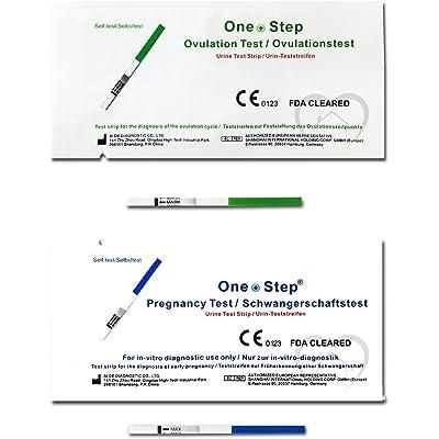 10 Prueba de Ovulación 20 mIU/ml y 2 Tests de Embarazo de alta sensibilidad 10mIU/ml - Formato 3,5 mm - Para detección precoz de la ovulación y el embarazo