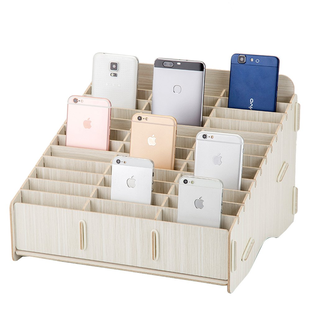 Loghot Wooden 36 Storage Compartments Multifunctional Storage Box for Cell Phones Holder Desk Supplies Organizer (White)