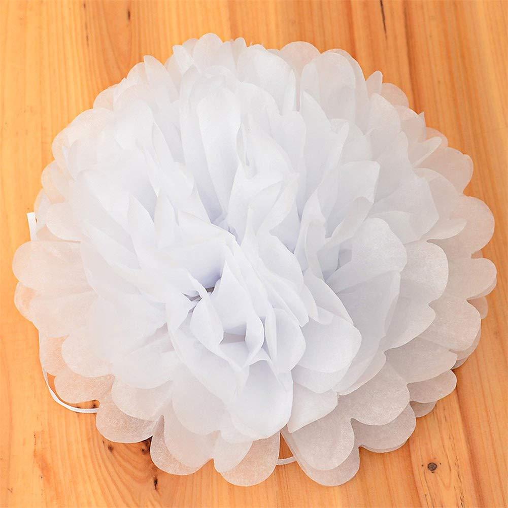 Aibelly 造花ボール 10個 カラフル DIY 8インチ ティッシュペーパー 結婚式 装飾 装飾 結婚式 家庭 オフィス 装飾 お祝いに ホワイト 312-20180830 B07GYY37W3 ホワイト