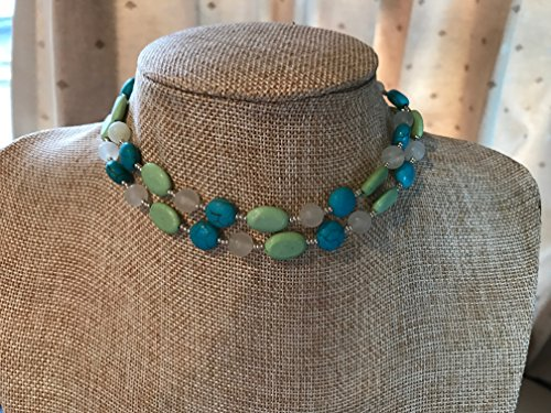 Turquoise and Green Magnesite Handmade Beaded Necklace with White Italian Onyx and Silver Czech Glass