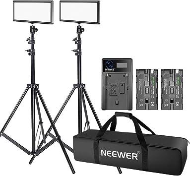 Neewer 2-Pack T120 Luz de Video LED en Cámara con Kit de Iluminación: (2)Panel LED Regulable Bi-color, (2)Soporte de Iluminación 190cm, (2)Batería de Li-ion, (1)Cargador USB, (1)Estuche de Transporte: Amazon.es: Electrónica