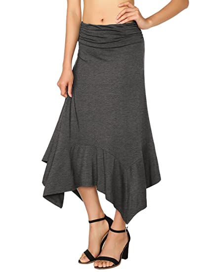 49292bb96b18 Casual Fashion Skirt for Woman, DJT Women's Flowy Handkerchief Hemline Midi  Skirt Small Heather Grey at Amazon Women's Clothing store: