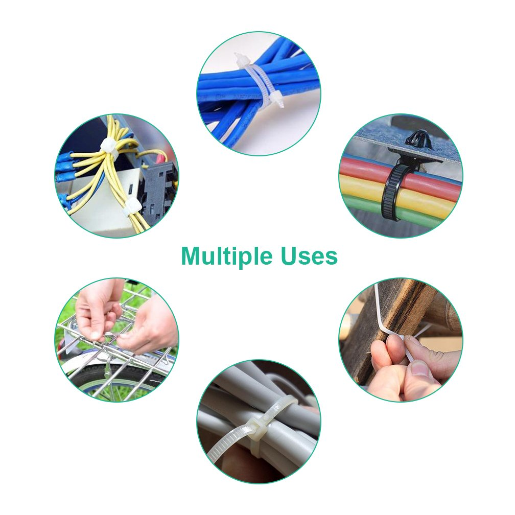 Heavy Duty Zip Ties in 4+6+8+14.6-inch, Self-Locking Nylon Cable Zip Ties Black & White (Combo Pack 700pcs) for Home/Office / Garage/Workshop by ipolex