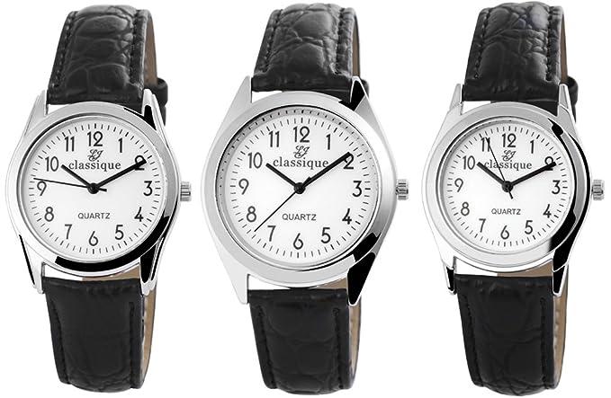 Classique reloj de pulsera para hombre con imitación de cuero de la correa de cuero reloj de pulsera analógico para hombre Classique reloj quartz: batería ...