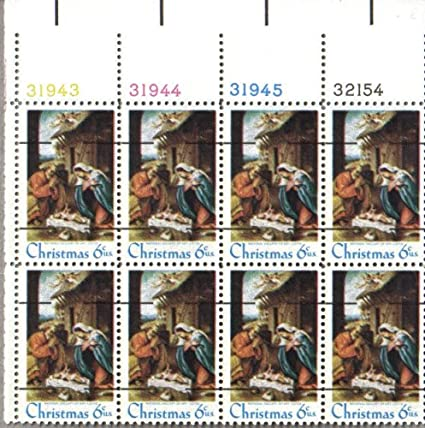 1970 CHRISTMAS NATIVITY OF CHRIST LORENZO LOTTO PRECANCELLED 1414a Plate Block Of 8