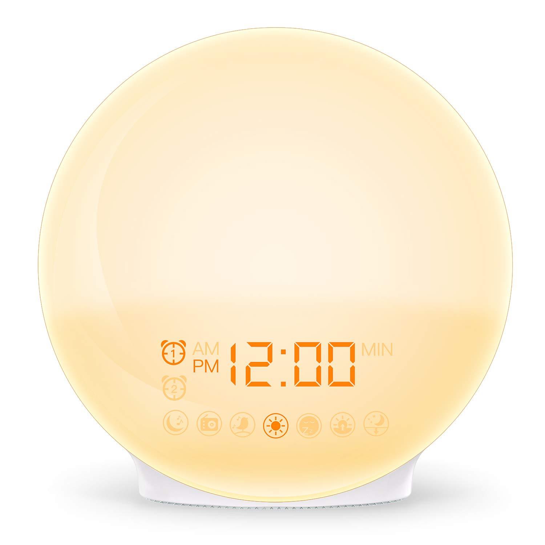 COULAX Lichtwecker Wake Up Licht tageslichtwecker mit 2 Alarme//Snooze//Schlafhilfe//Sonnenaufgang//Untergang-Simulation//7 Weckt/öne//20 Helligkeit//FM Radio Wecker f/ür Kinder/&Erwachsenen