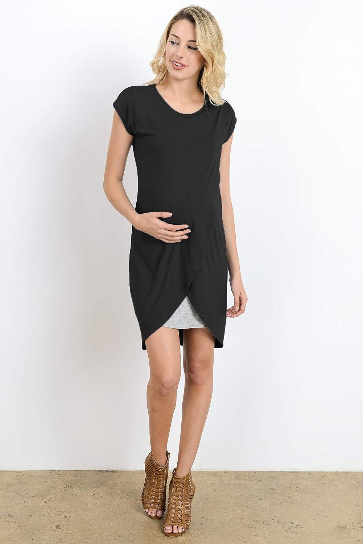 b6be51238505f Hello MIZ Color Block Asymmetrical Breastfeeing Maternity Nursing Dress:  Amazon.ca: Clothing & Accessories