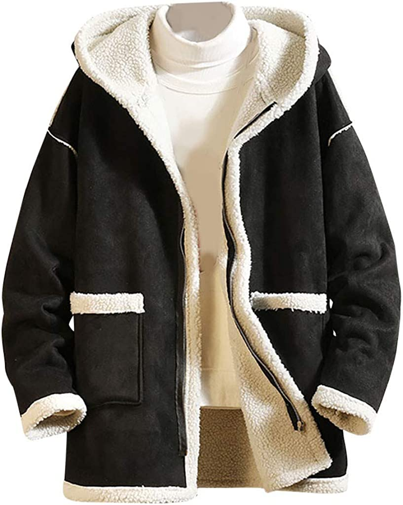 Gihuo Mens Sherpa Fleece Lined Winter Warm Military Fur Collar Jacket