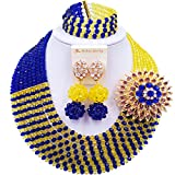 aczuv 8 Rows African Jewelry for Women Nigerian Beads Wedding Necklace Set Bridal Jewelry Sets