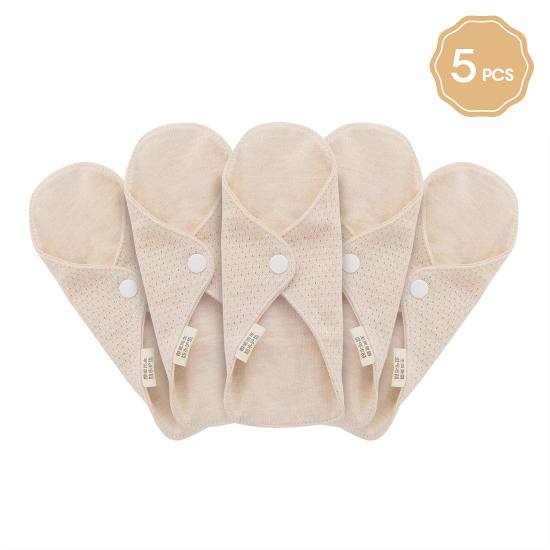 Women Organic Cotton Sanitary Napkin Washable Panty Liners Leak Proof Design Suit for All Women MQUPIN Reusable Sanitary Towels Pads