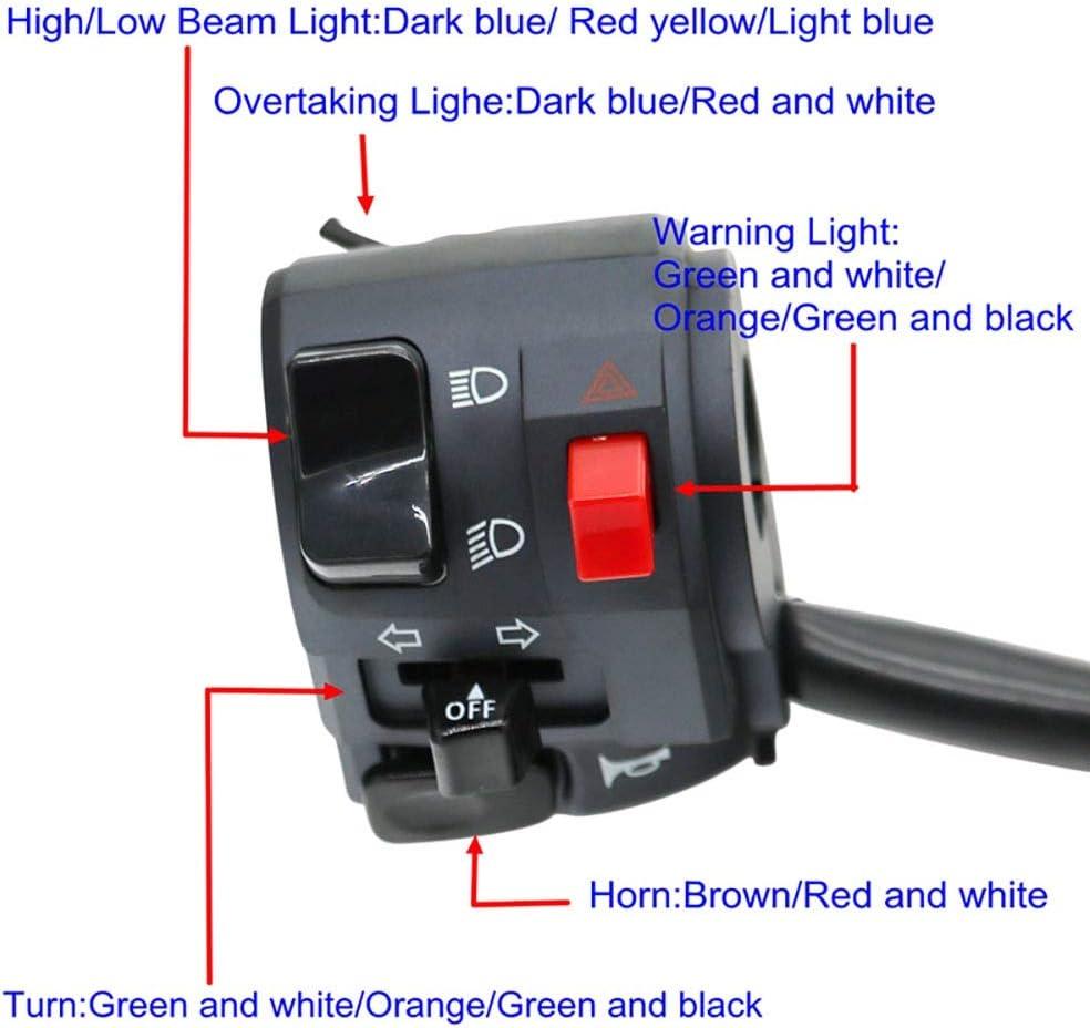 Couleur : Left Comodo Moto Interrupteurs Moto Corne Bouton Clignotants Clignotants /Électrique Feu De D/émarrage Guidon Contr/ôleur Commutateur 22mm Accessoires Moto